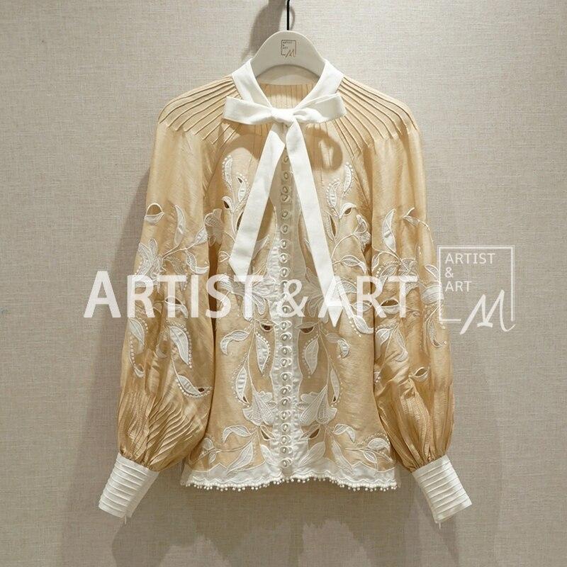 2019 Women Spring Summer High End Custom Silk Hemp Embroidery Blouse Shirt Sexy Elegant Blouses Shirts