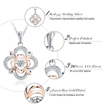 Genuine 925 Silver Cute Flower Pendant Necklaces mixed Rose Gold Color with Movable 0.3 ct Crystal for Women