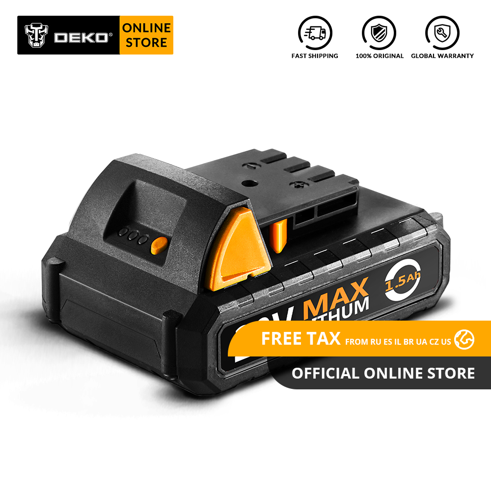 Original DEKO Battery20V Y 20V MAX 1500mAh Lithium Ion Battery Pack for GCD20DU2 Cordless Drill