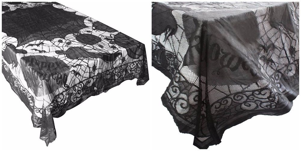 Black Lace Tablecloth Spider Web Ghost Pumpkin Table Clothes Halloween  Party Decoration Haunted Shooting Props Home Decoration In Party DIY  Decorations From ...