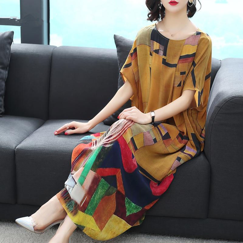 Imitate Real Silk Dress 2018 New Summer Autumn Sweet Women Dress Lady's Loose Print Casual Clothes Lady's Evening Party Dress