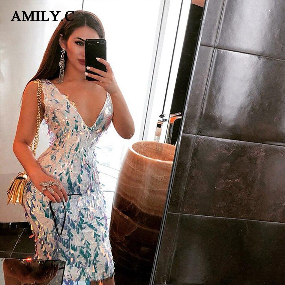 2018 Party Celebrity Cou Moulante Robe Sexy Robes En Nouveau Printemps Bleu Pu Élégante Gros Ciel Femmes Gland AmilleC V tBQCxodshr