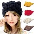 Orejas de Gato Invierno de Punto de Ganchillo de las mujeres Trenzada Beret Beanie Sombrero Hecho Punto Casquillo de Esquí 1PBJ