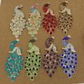 Free Shipping 10pcs  Rhinestone Peacock Charm DIY Phone Case Decoration sticker Metal Jewelry Decoration Glitter Button Patch