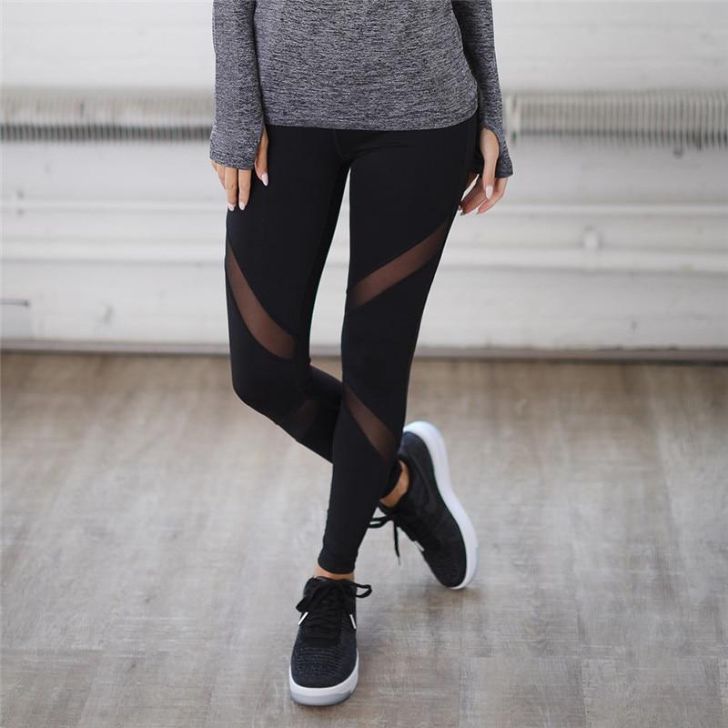 Nové sexy dámské legíny Gothic Insert Mesh Design Kalhoty Kalhoty Velké velikosti Black Capris Sportswear Nové Fitness leginy