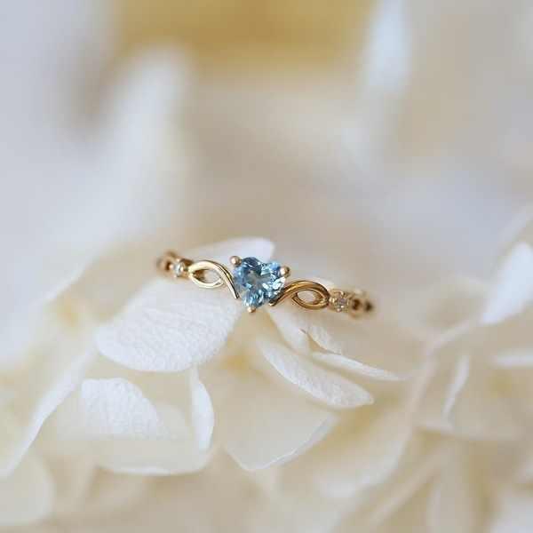 ใหม่แฟชั่นคริสตัล Twist คลาสสิกหัวใจงานแต่งงานแหวนทองสี elegant หมั้นแหวน Tiny Zircon ของขวัญเครื่องประดับ