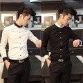 2015 oferta especial por tiempo limitado Collar del mandarín camisas de algodón para hombres de ropa del otoño camisa para hombre de manga larga tendencia delgada