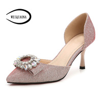WEIQIAONA 2018 New Luxury Crystal Women Shoes Pointed Toe Shallow Pumps Heels High Heels Ladies Shoes Wedding Shoes Dress Shoes