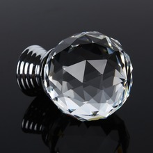 30mm  Diamond Shape Clear Crystal Glass Door Knobs Handles Cabinet Drawer Knobs + Screw Circular Door Wardrobe Cupboard Hardware ews small 30mm clear crystal glass cupboard door knob