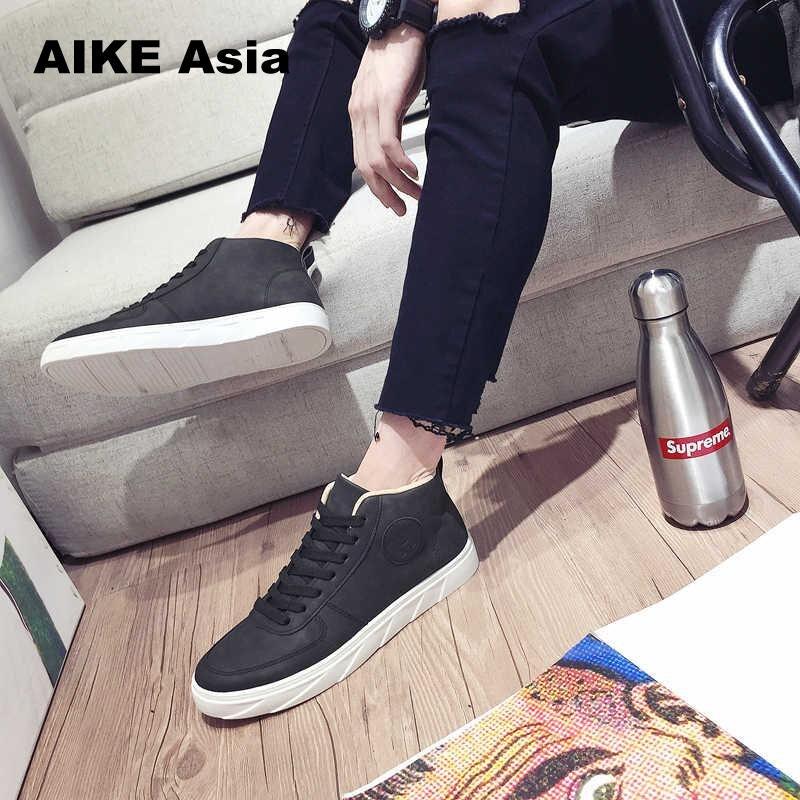 Sólidos gray Zapatos De Otoño Zapatillas up Alto Hombre Black Vulcanizar Primavera Estilo Hombres Manera Lace Superior Colores 75paUpqw