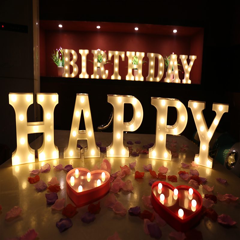 26 Letters Warm White LED Night Light Marquee Sign Alphabet Lamp For Birthday Wedding Party Bedroom Wall Hanging Decor