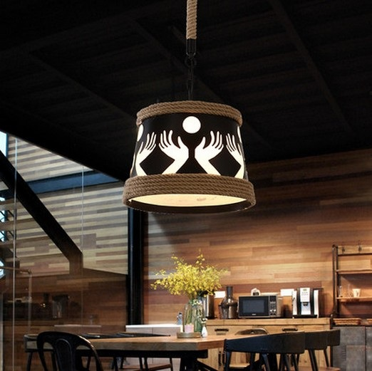 Loft Style Rope Iron Droplight LED Pendant Light Fixtures For Dining Room Hanging Lamp Vintage Industrial Lighting Lampara iron cage loft style creative led pendant lights fixtures vintage industrial lighting for dining room suspension luminaire