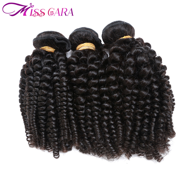 Miss Cara Brazilian Bouncy Curly Hair 3 Bundles Funmi Hair Weaves Remy 100% Human Hair Bundles Can Be Dyed And Straighten