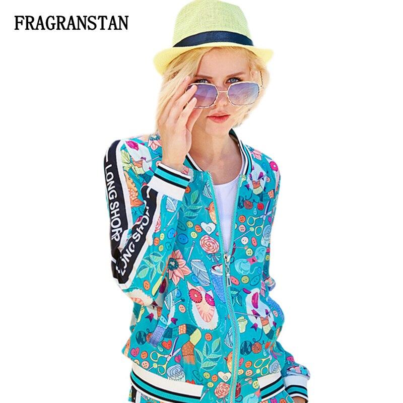 Women Spring Autumn Long Sleeve Blue Coat Fashion Letter Cartoon Print Ladies Jacket Casual Loose Female
