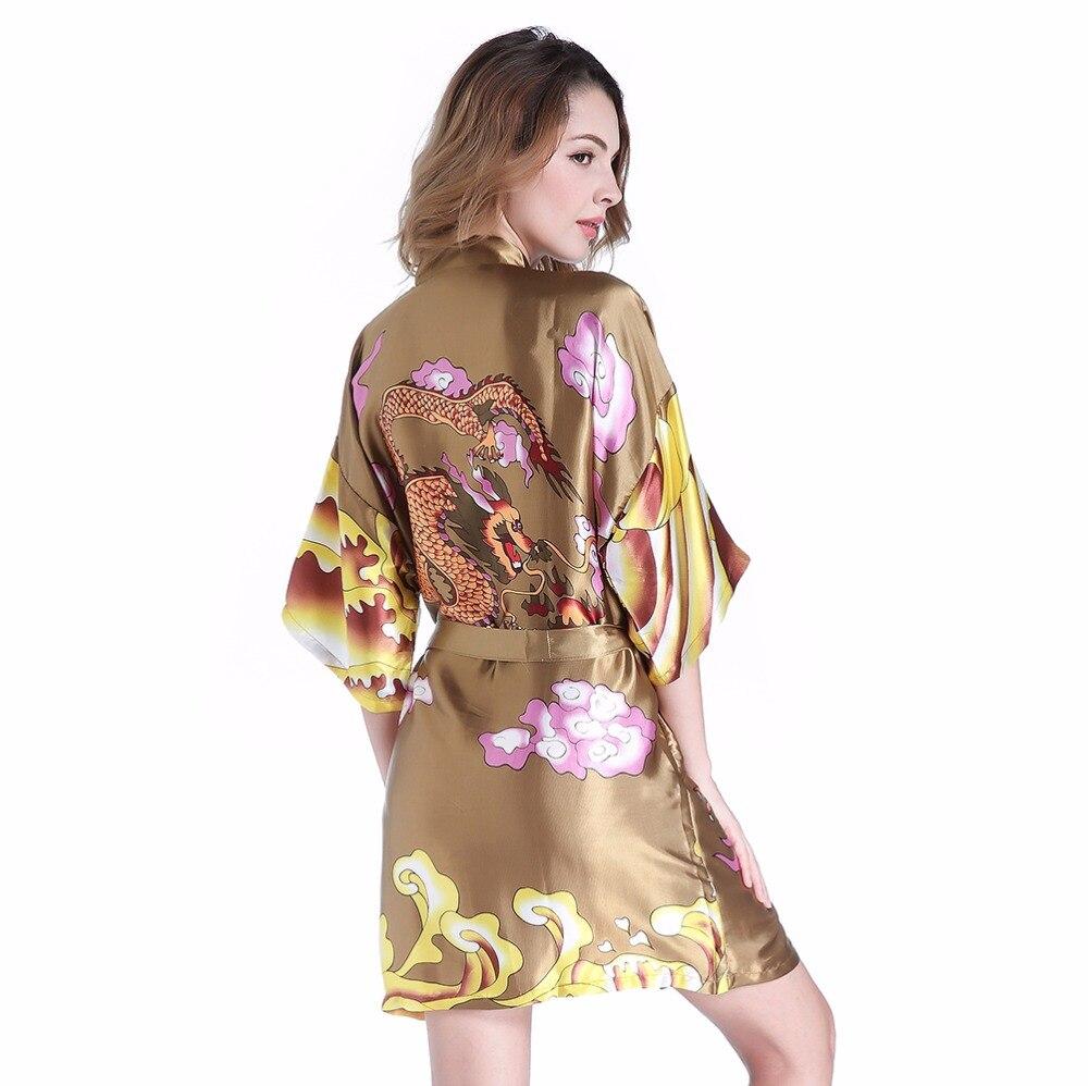 Animal Print Female Kimono Geisha Bath Robe Army Green Women Satin Nightwear Summer Mini Sleepwear With Dragon One Size