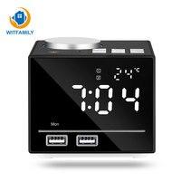 Intelligent Colorful Night Light Electronic Alarm Clock LED Dual USB Charging Temperature Audio Bluetooth Playback Desktop Clock