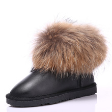 UVWP 2017 Fashion Thick Natural Fox fur Snow Boots Women Boots 100% Real Leather Waterproof Winter Warm Snow Boots Ankle Boots