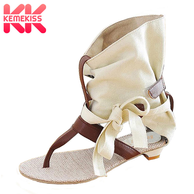 KemeKiss Size 34-43 Women Ladies Flat Sandals Fashion Dress sexy Flats Summer High Heels Shoes Slippers Footwear Sandals