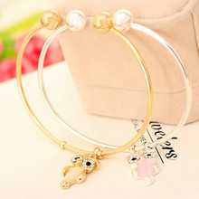 2019 New fashion cute cat eyes ladies mens couple bracelets hot sale gold / silver animal owl hanging bracelet female