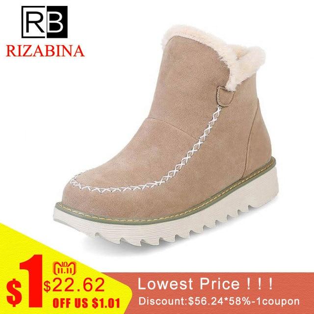 e97a4125e1 RizaBina Warm Fur Women Snow Boots Flat Platform Winter Shoes Flock Ankle Boots  Female Basic Snow Casual Shoes Size 34-43