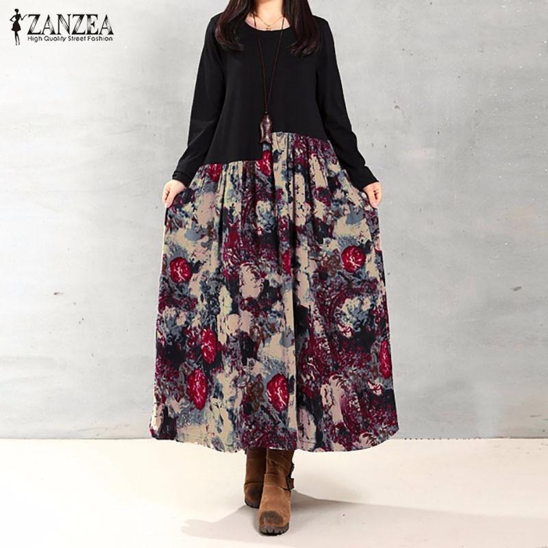 ZANZEA Women Dress 2017 Autumn Casual Loose Long Sleeve Vintage Floral Print Cotton Linen Maxi Long Dress Vestidos Plus Size