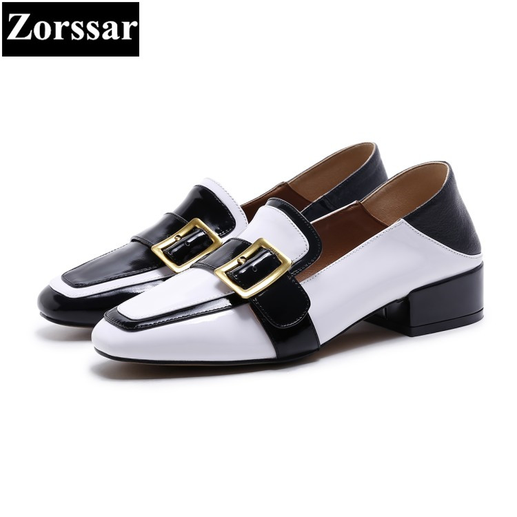 {Zorssar} women square toe high heels pumps Fashion buckle Casual Real leather slip on Leisure low heel shoes woman Single shoes 2017 shoes women med heels tassel slip on women pumps solid round toe high quality loafers preppy style lady casual shoes 17