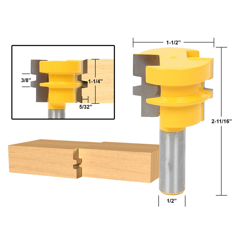 1pcs Glue Joint Router Bit - Medium Reversible - 1/2 Shank 2 pcs 1 2t type shank 3teeth tenon cutter 4mm reversible glue bits of high quality dovetail router bits box joint router bit