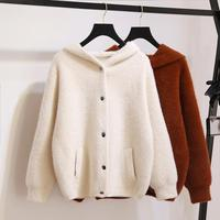 2018 Autumn Women New Fashion Faux Mink Cashmere Sweaters Cardigans Female Hooded Warm Single Breasted Knitwear Knitted Coat C4