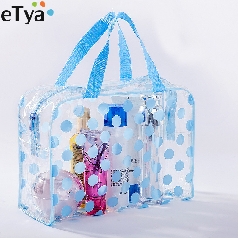ETya Fashion Dot Women Travel Transparent PVC Cosmetic Bags Fashion Waterproof Neceser Makeup Pouch Wash Toiletry Tote Bag Case