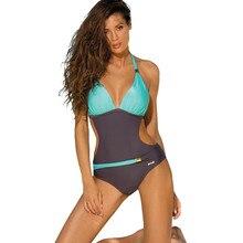 Ariel Sarah Brand 2017 New Design Summer Sexy One Piece Suit Swimwear Women Bodysuit Deep V Swimsuit Spell Color Beach Wear