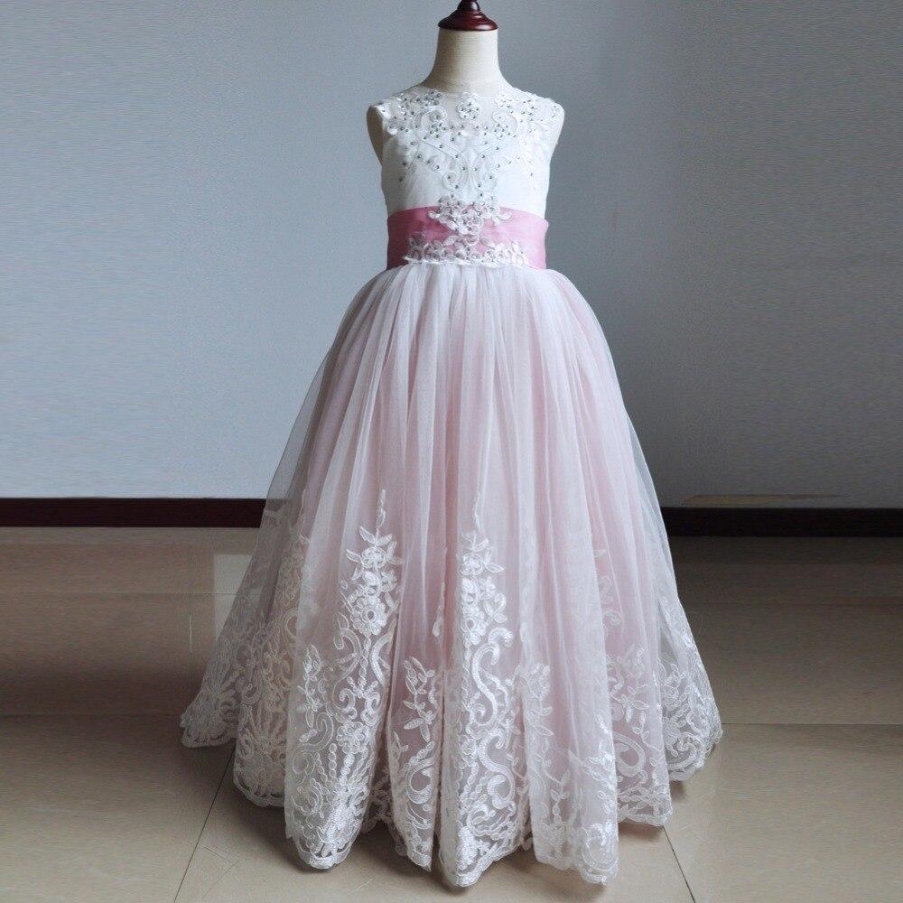 Image 5 - Surferfish Childrens princess dress girls wedding dress Lace  Heart Back Halter Bows Long Party Ball Valentines Day DressDresses