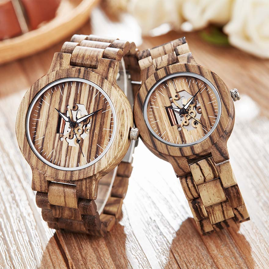 Creative Wooden Couple Mechanical Watch Men Women Wooden Band Wristwatch Wood Watch Self-Wind Reloj De Mujer De Mader Male Clock