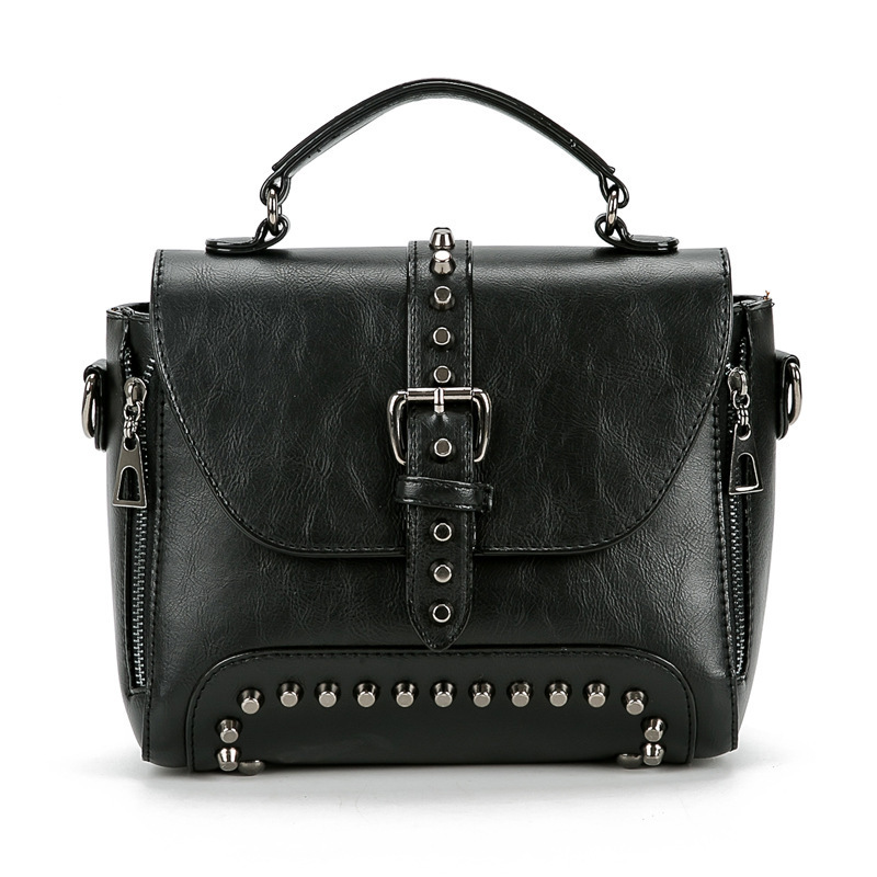 fondhere Crossbody Bags For Women Messenger Vintage Leather Handbags Rivet Small Shoulder Bag