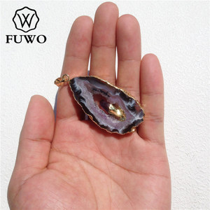 Image 5 - FUWO Natural Geode Slice Pendant 24K Gold Electroplated Raw Crystal With Fixed Purple Quartz Charm Jewelry Wholesale PD083