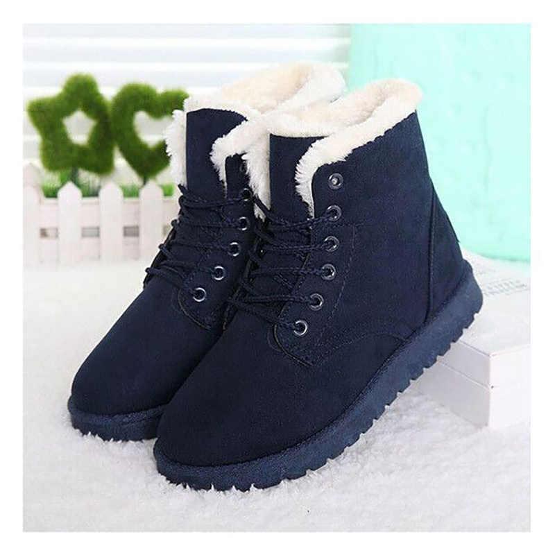 נשים מגפי חורף זמש חם פרווה מגפי נשים נעלי מוצק קצר קטיפה נשים שלג מגפיים בתוספת גודל 41 42 43