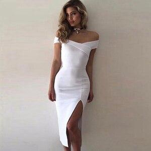 Image 5 - Adyce 2020 nuevo vestido blanco del vendaje del verano mujeres Vestidos negro atractivo del hombro Bodycon Club vestido de celebridad vestido de fiesta de la pasarela