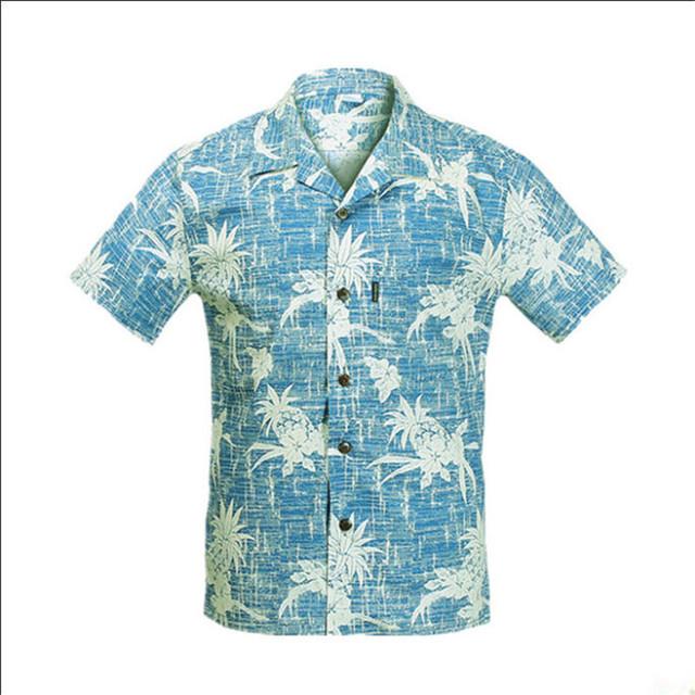 Nueva llegada 2016 Mens del verano camisa hawaiana tamaño ee.uu. M-XXL manga corta de algodón de impresión Casual hombres ropa marca A945