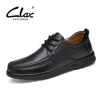 CLAX Men Autumn Shoes Genuine Leather 2018 Men's Casual Shoes Black Dress Footwear Handmade Oxfords Designer Leather Shoe