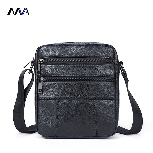 Mva Men Genuine Leather Handbags One Shoulder Bag Crossbody S Cowhide Messenger Flap