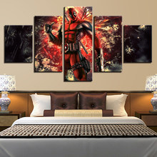 Living Room Printed HD Pictures 5 Panel Deadpool Movie Modern Framework Home Decoration Canvas Painting Poster Wall Artwork(China)