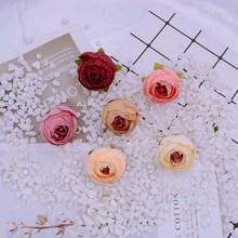 10 sztuk 4cm tanie jedwabne herbaty róże boże narodzenie w domu dekoracja na przyjęcie ślubne diy prezenty pudełko tanie fałszywe plastikowe ścianka ze sztucznych kwiatów tanie tanio Jedwabiu Sztuczne Kwiaty Ślub Bukiet kwiatów tea roses
