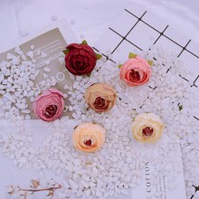 10pcs 4cm cheap Silk tea roses Christmas home party wedding decoration diy gifts box Fake plastic Artificial flower wall