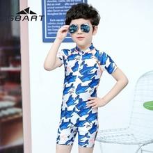 Rash Guard Kids Boys Beachwear Child One Piece Short Sleeve Swimsuit Uv Protection Swimwear Bathing Suit Toddler Children