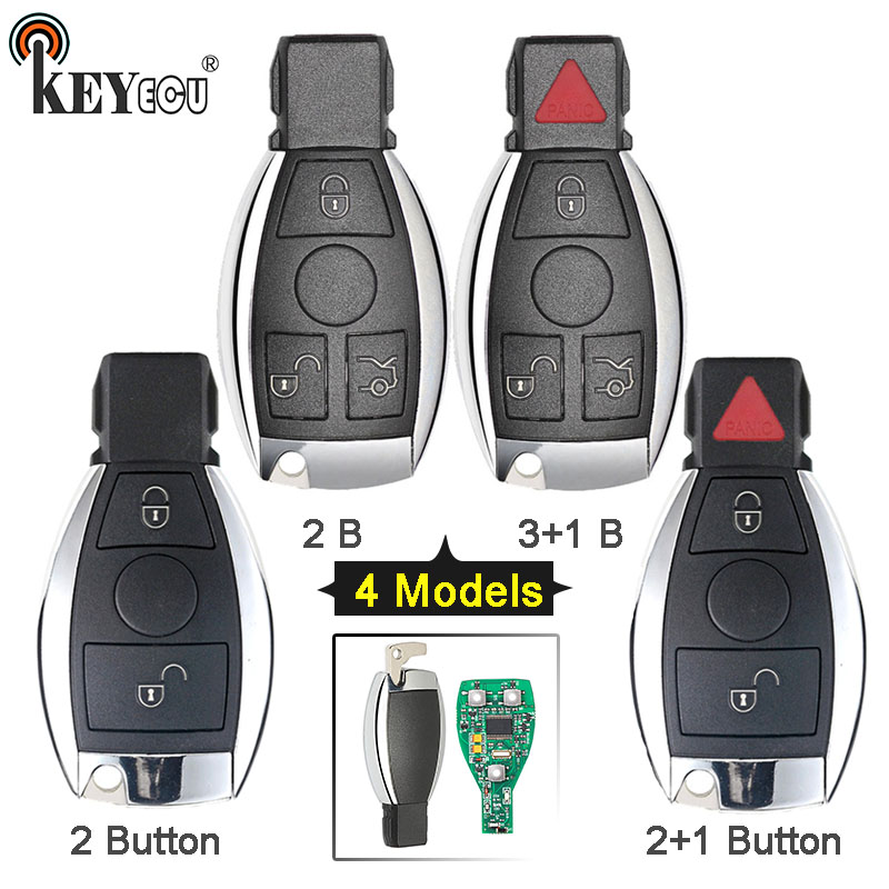 KEYECU 315 / 433MHz Smart 2 2+1 3 3+1 4 Button Remote Car Key Fob for Mercedes Benz Support NEC And BGA 2000+ Year, 705 Moto