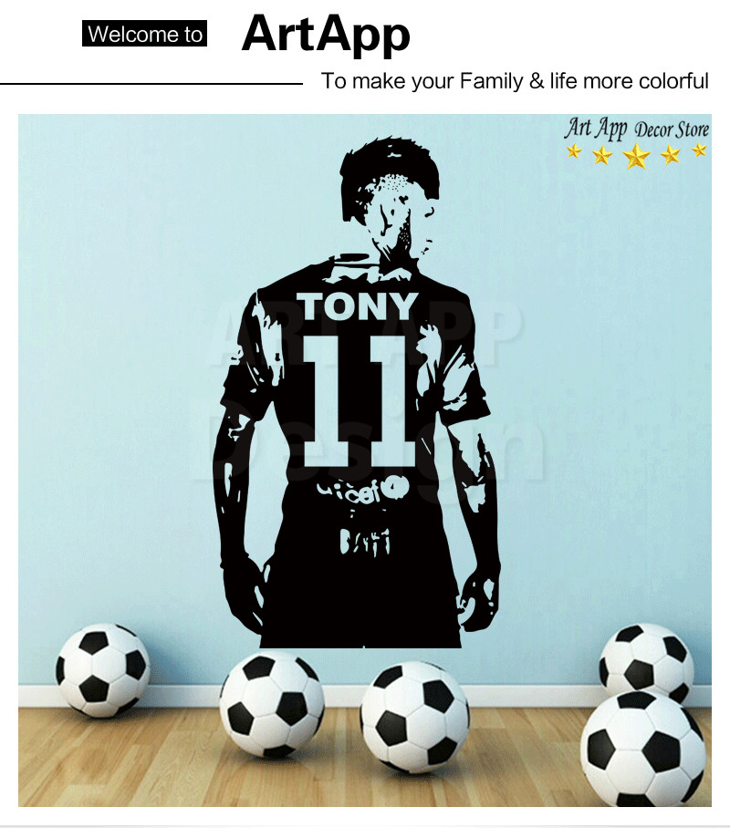 96cd991a1699 Name Art Design Football Player Cheap Home Decoration PVC Wall ...