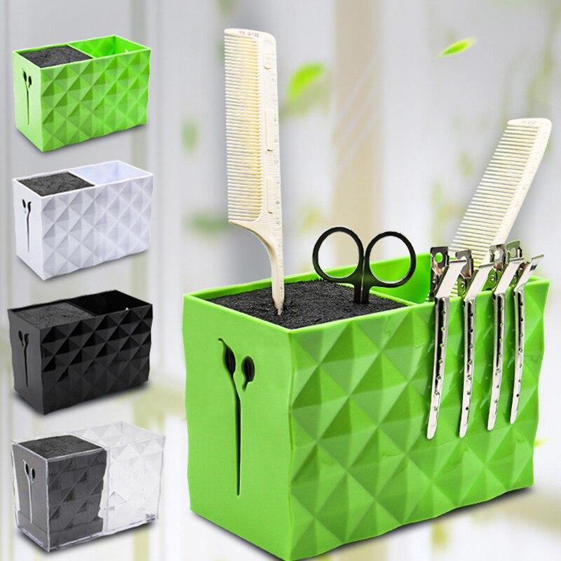 Newest Design Double Layer Hairdresser Tools Holder Fashion ABS Barber Scissor Case Desktop Makeup Tools Box Salon Accessories