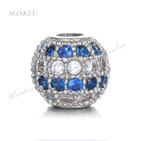 Hot Luxury 8*8mm Micro Pave Round Beads Mixed Color White Blue Zircon CZ Copper Jewelry Hot Sale Beads for DIY Making FC272