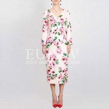e348e89c7d Kobiety sukienka jesienna Print rozcięcie V-Necl z długim rękawem  Bud2018New moda wysokiej jakości gwiazda marka sycylii ręcznie.