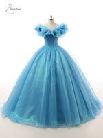 Blue Ball Gown Floor Length Organza Wedding Dress For Wedding Occasions With Appliques SH0032