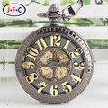 Совать Карты Бронза Пиратский Череп Круглый Механические Карманные Часы Автоматического Самообслуживания Ветер Старинные Антикварные Мужчины Военная Карманные Часы Q003